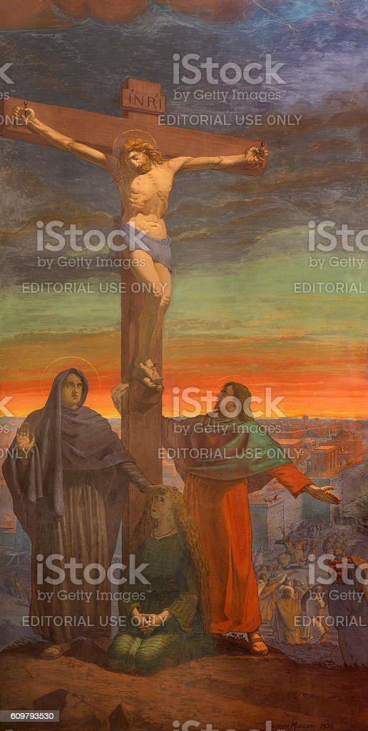 Brescia - The Crucifixion fresco stock photo