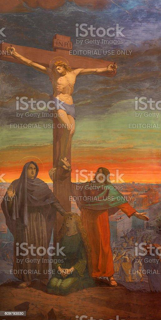 Brescia - The Crucifixion fresco stock photo