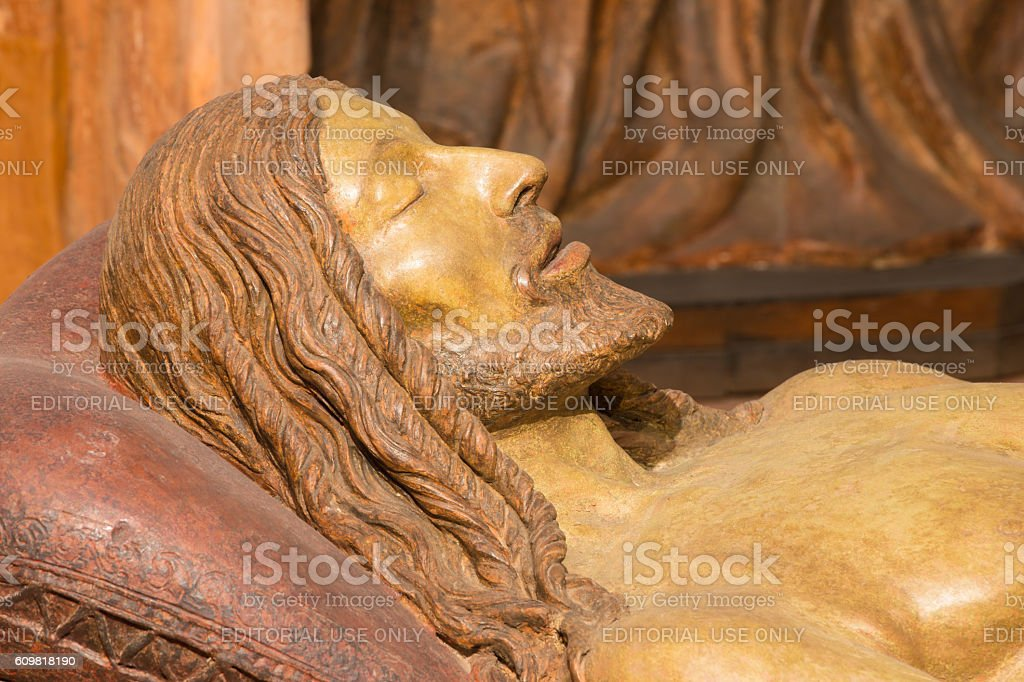 Brescia - The detail of death Jesus sculpture stock photo