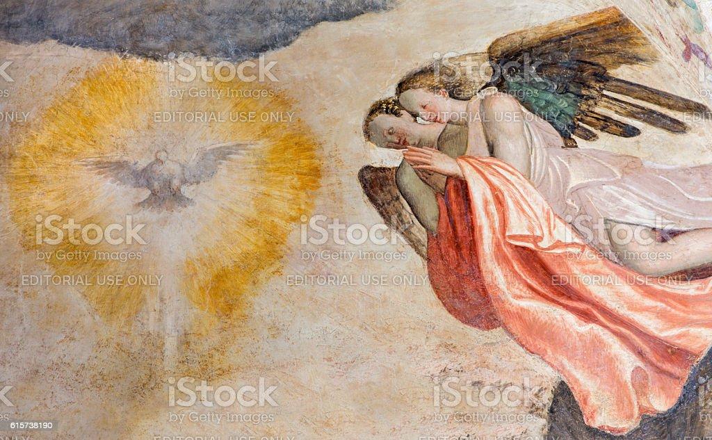 Brescia - The fresco of angels adorating of Holy Spirit stock photo