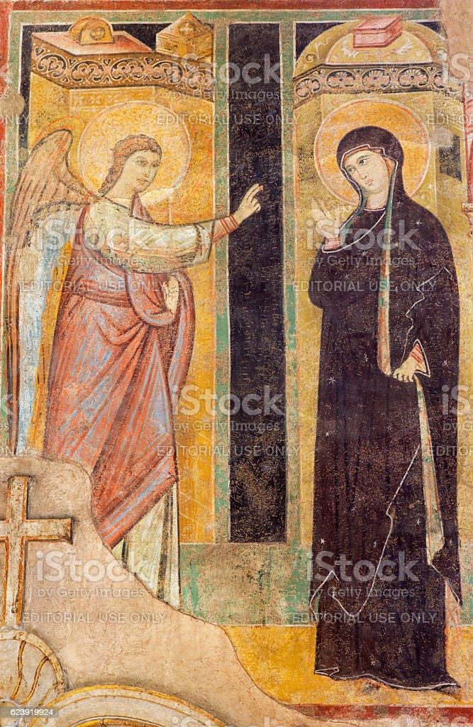 Brescia - The fresco of Annunciation stock photo