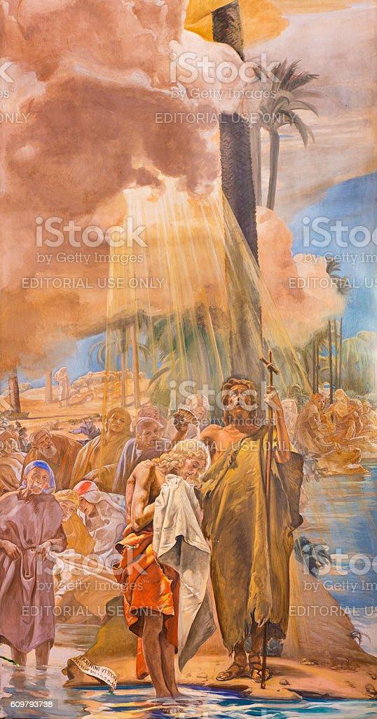 Brescia - The fresco of Baptism of Christ stock photo