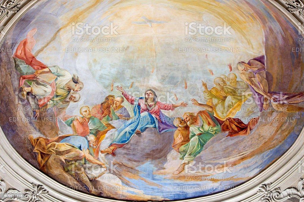 Brescia - The fresco of Pentecost stock photo
