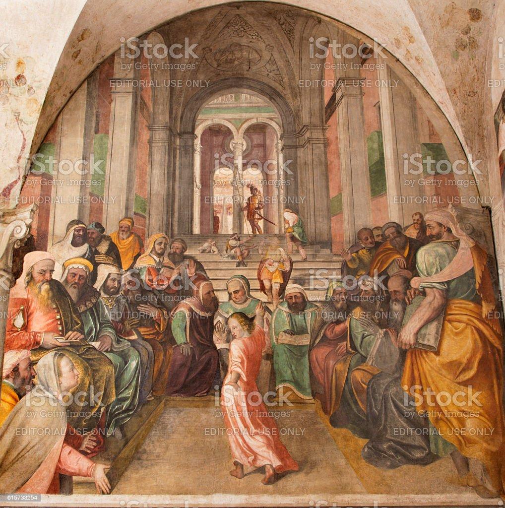 Brescia - The fresco Twelve old Jesus in the Temple stock photo