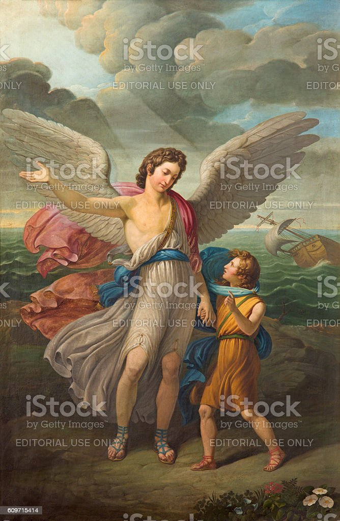 Brescia - The painting of Archangel Raphael and Tobias stock photo