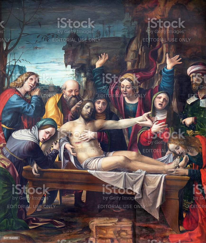 Brescia -  The painting of Deposition of the cross stock photo