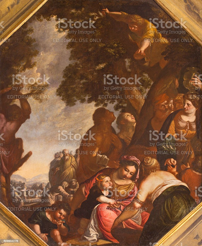 Brescia - The painting of Gatering the Manna stock photo