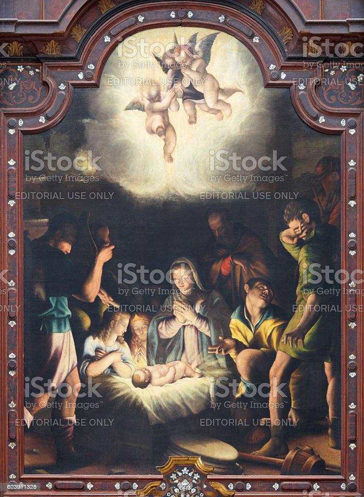 Brescia - The painting of Nativity stock photo