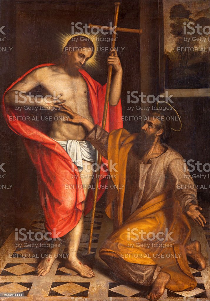 Brescia - The painting  The Doubt of St. Thomas stock photo