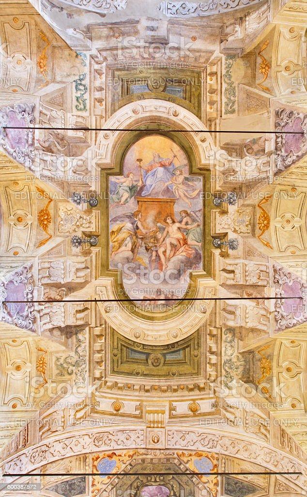 Bresica - ceiling fresco in church Chiesa di San Giorgio stock photo