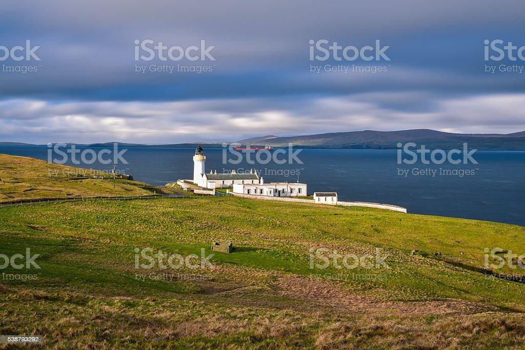 Bressay lighthouse in morning light, Shetland islands stock photo