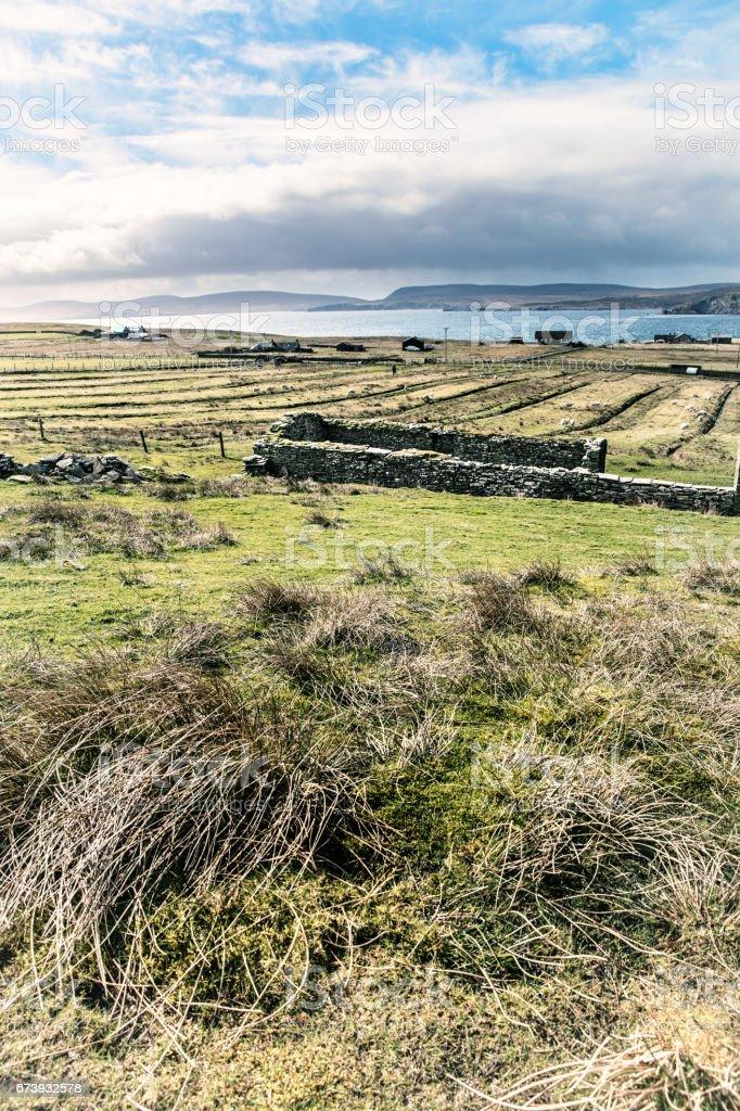 Bressay ruins, Shetland Islands, Scotland stock photo