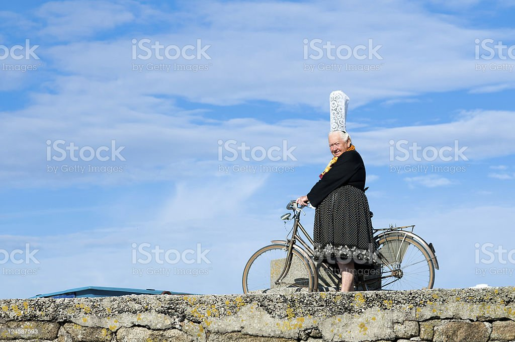 breton women with headdress stock photo
