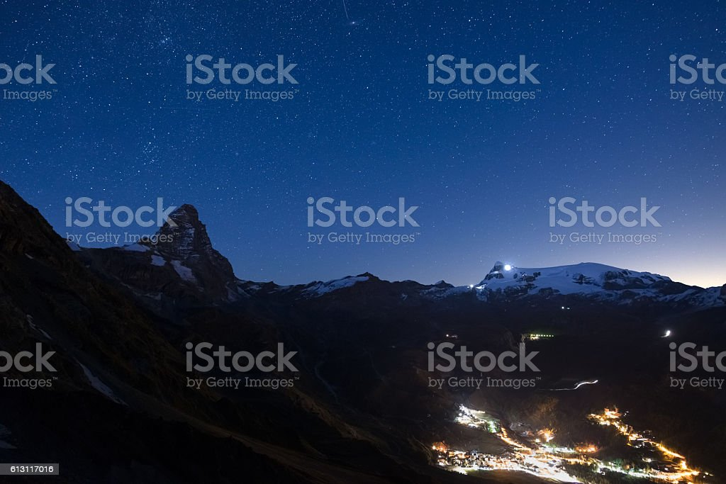 Breuil Cervinia ski resort in summertime by night stock photo