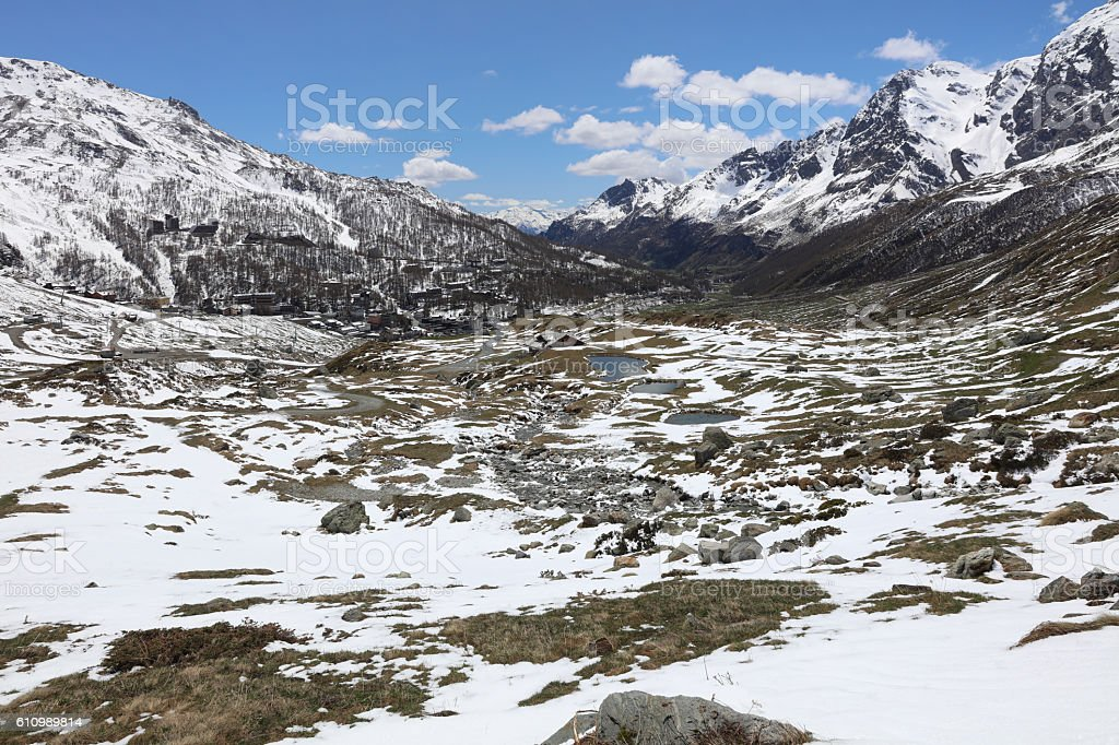 Breuil-Cervinia in Valtournenche. Valle d'Aosta. Italy stock photo