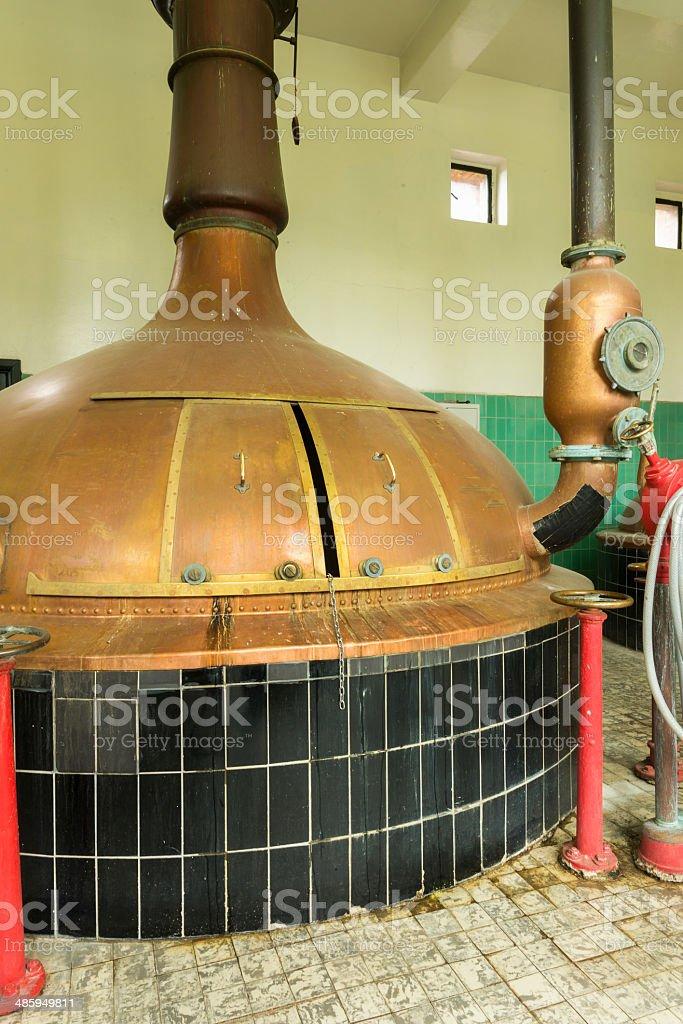 Brew kettle at Brewery 'Het Sas' in Boezinge, Belgium. stock photo