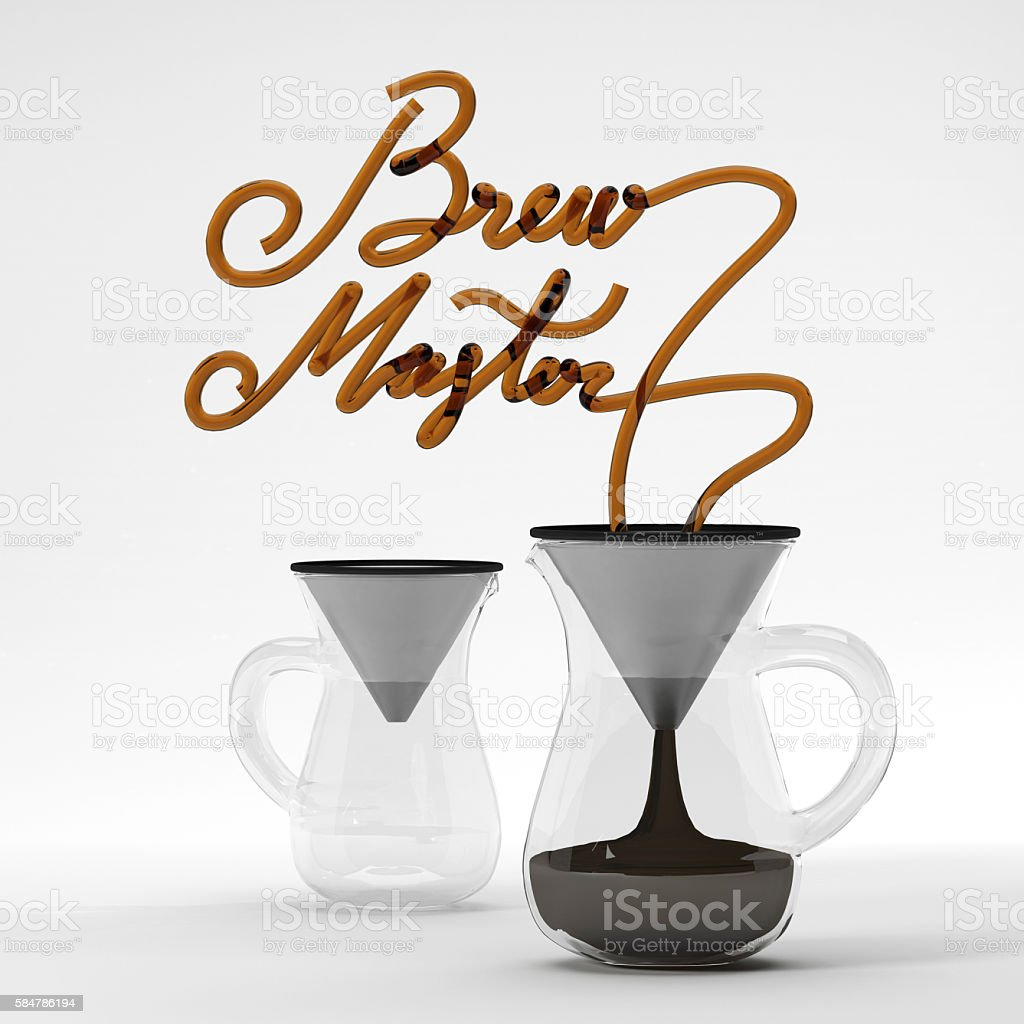 Brew master coffee quote with glass 3D rendering stock photo