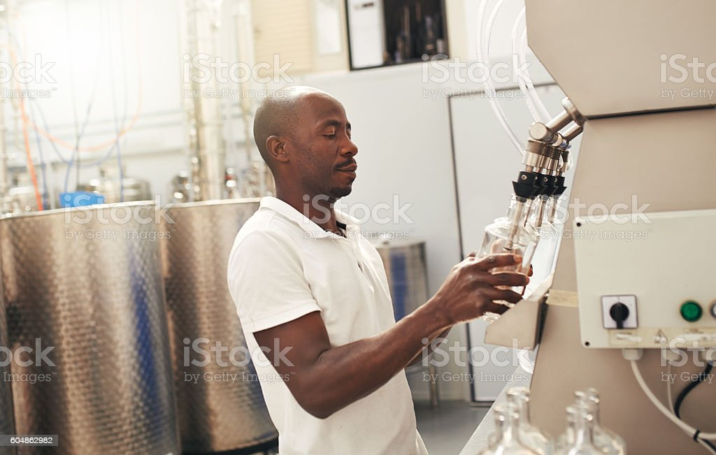 Brewed and bottled by the best in the business stock photo