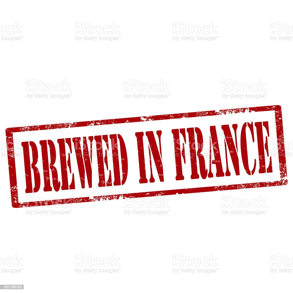 Brewed In France-stamp royalty-free stock photo