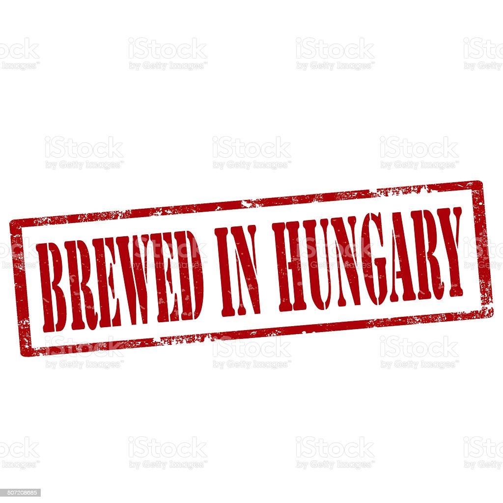 Brewed In Hungary-stamp royalty-free stock photo
