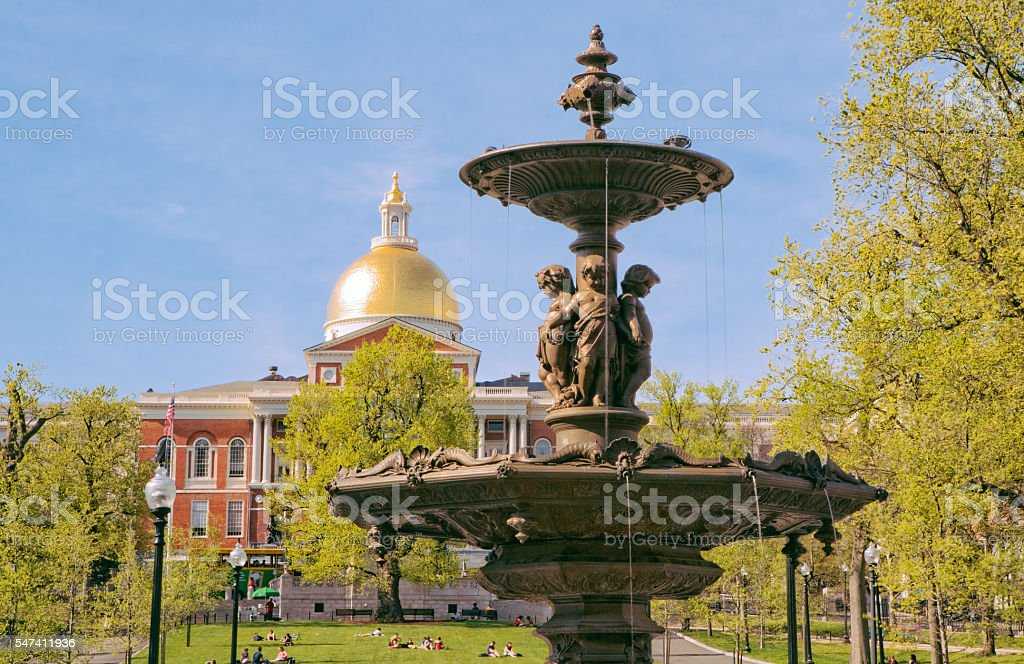 Brewer Fountain and State House stock photo