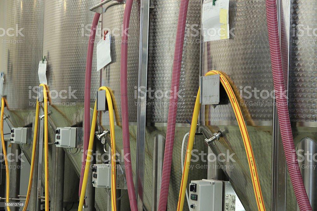 Brewery fermentation tanks stock photo