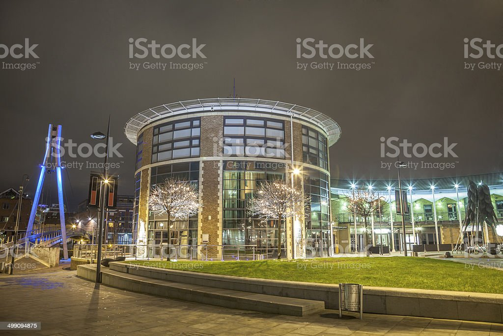 Brewery Wharf in Leeds at night stock photo