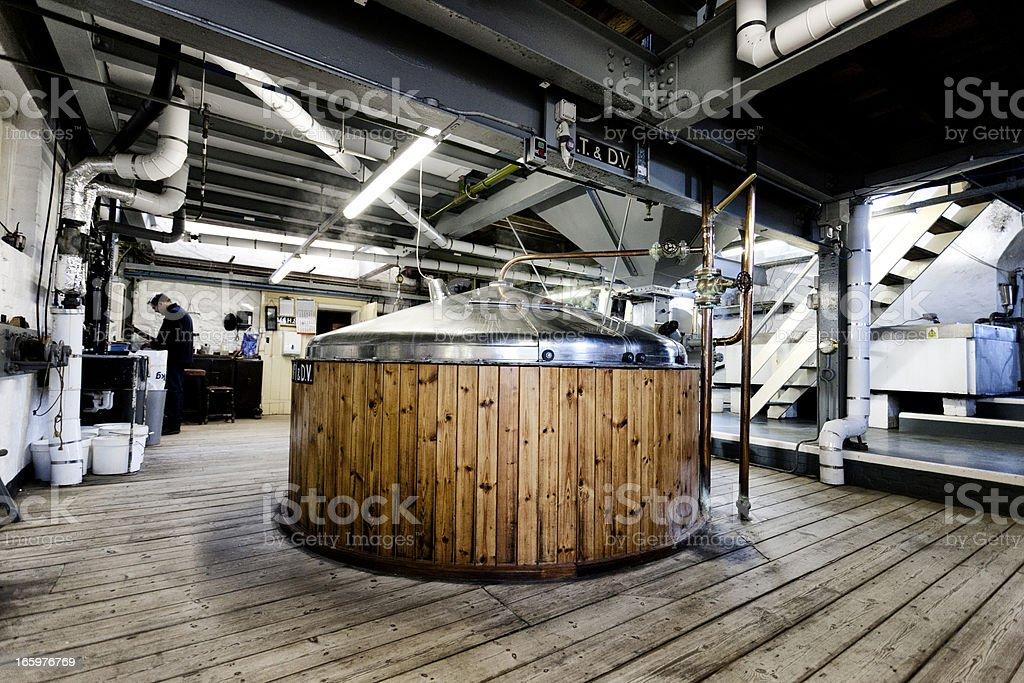 Brewing process, mash tun and dissolving vat stock photo