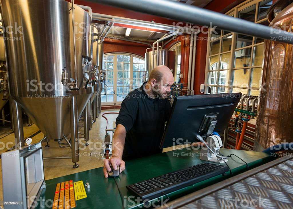 Brewmaster At Work In a  Microbrewery stock photo