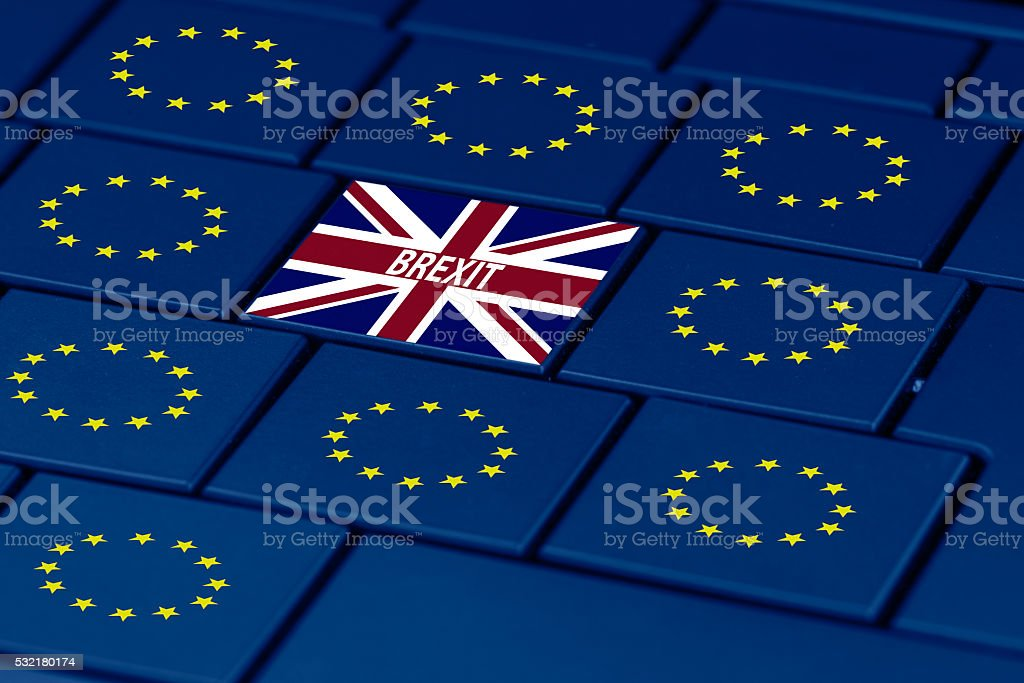 brexit and eu flag on a pc keyboard stock photo