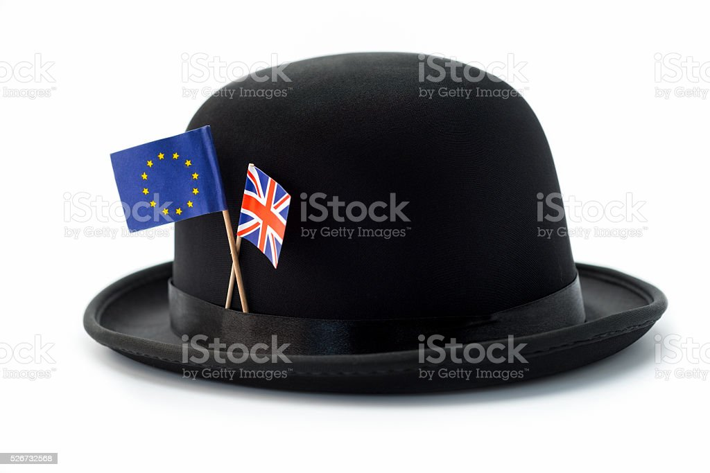 Brexit bowler hat with flags stock photo