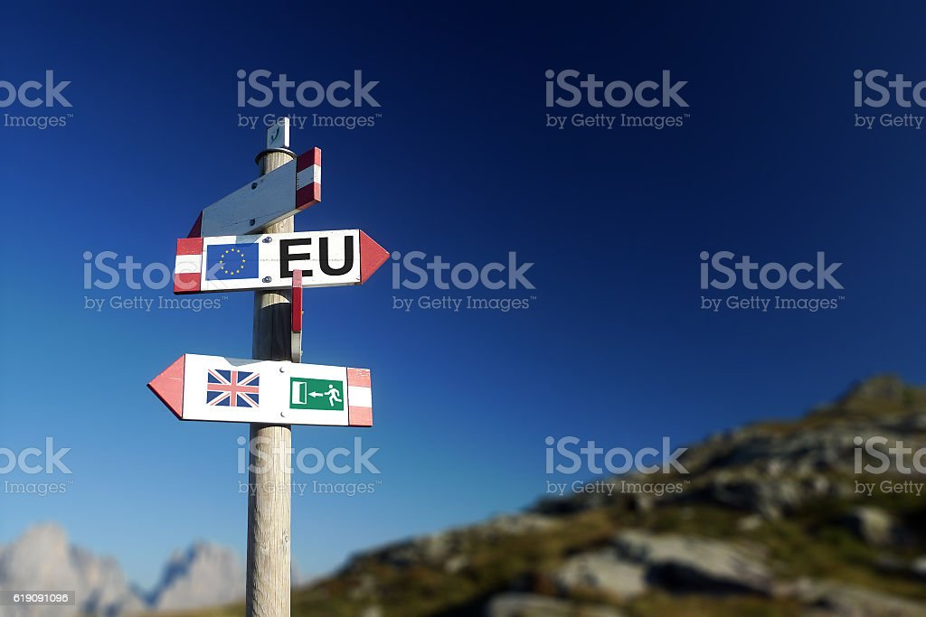 Brexit concept. British flag exit sign and EU flag stock photo