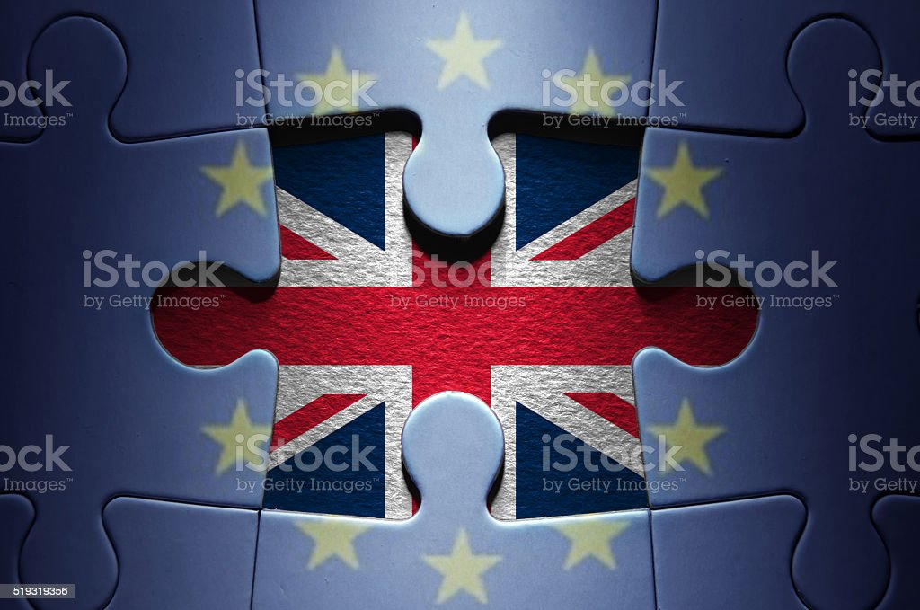 Brexit concept jigsaw puzzle stock photo