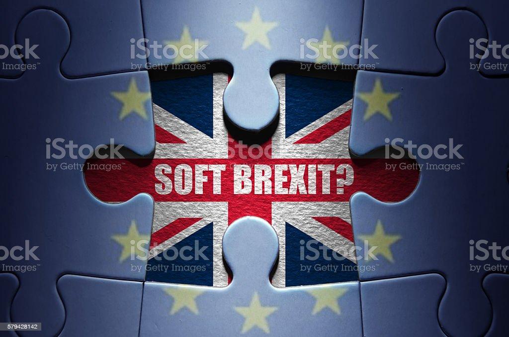 Brexit concept jigsaw puzzle stock photo