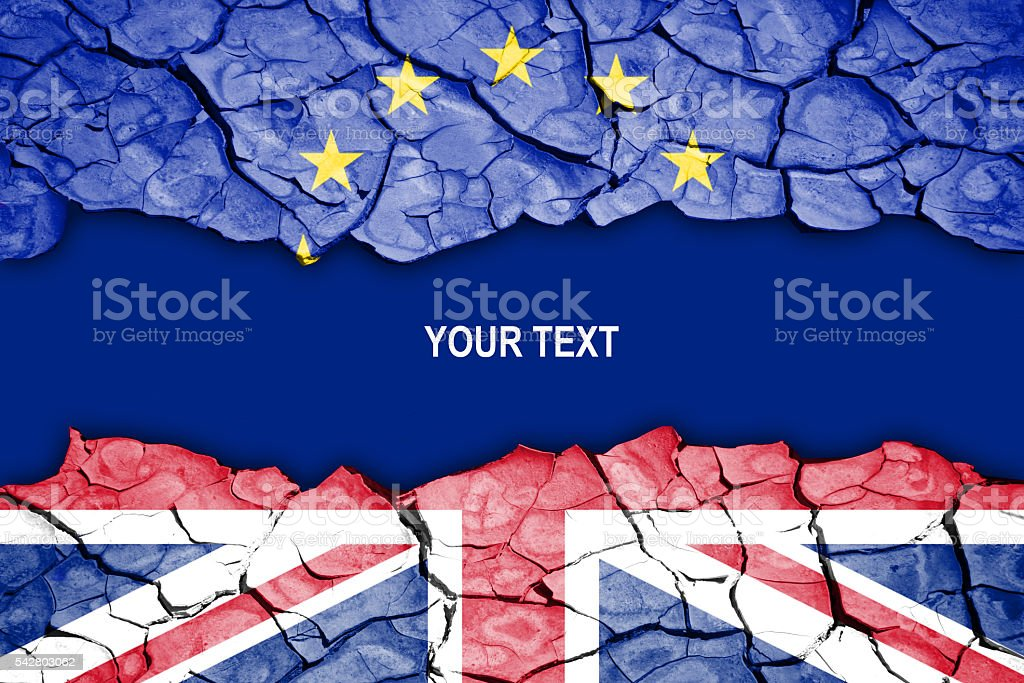Brexit, crack between flags of the UK and the EU stock photo