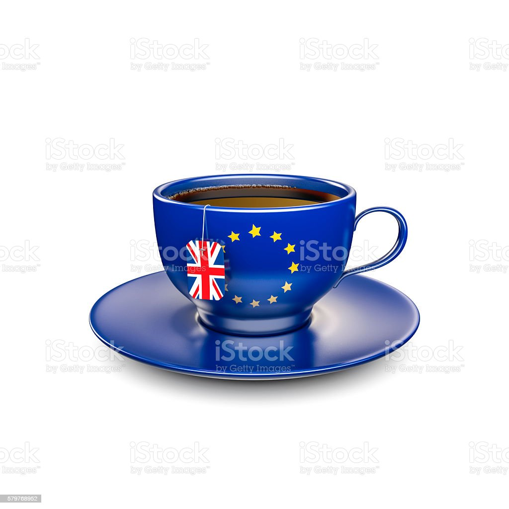 Brexit cup of tea stock photo
