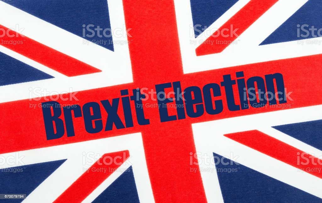 Brexit election, text on Union Jack flag. stock photo