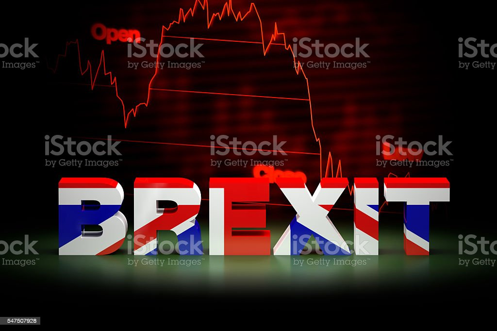 Brexit Financial Crisis, 3D Rendering stock photo