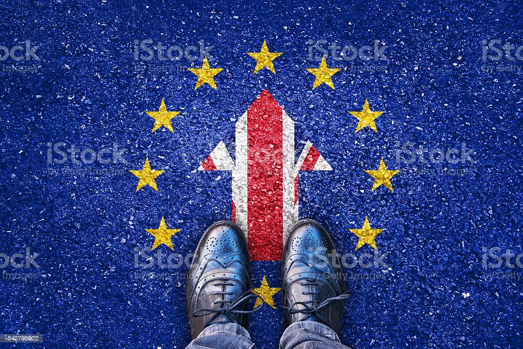 Brexit, flags of the United Kingdom and the European Union stock photo
