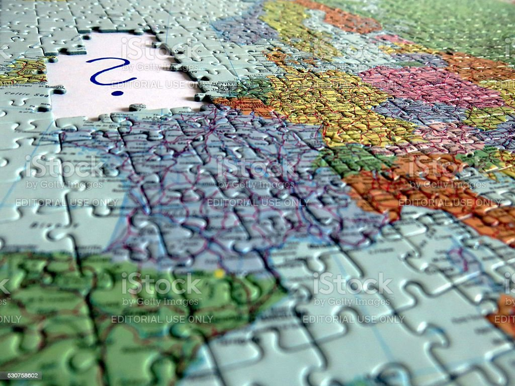 Brexit Jigsaw puzzle displaying european map missing Great Britain stock photo