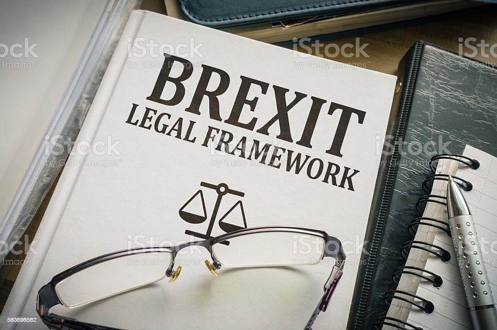 Brexit legal framework book - Laws and impact of brexit. stock photo