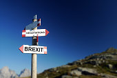 Brexit negotiations written on mountain road sign. Hard Brexit c