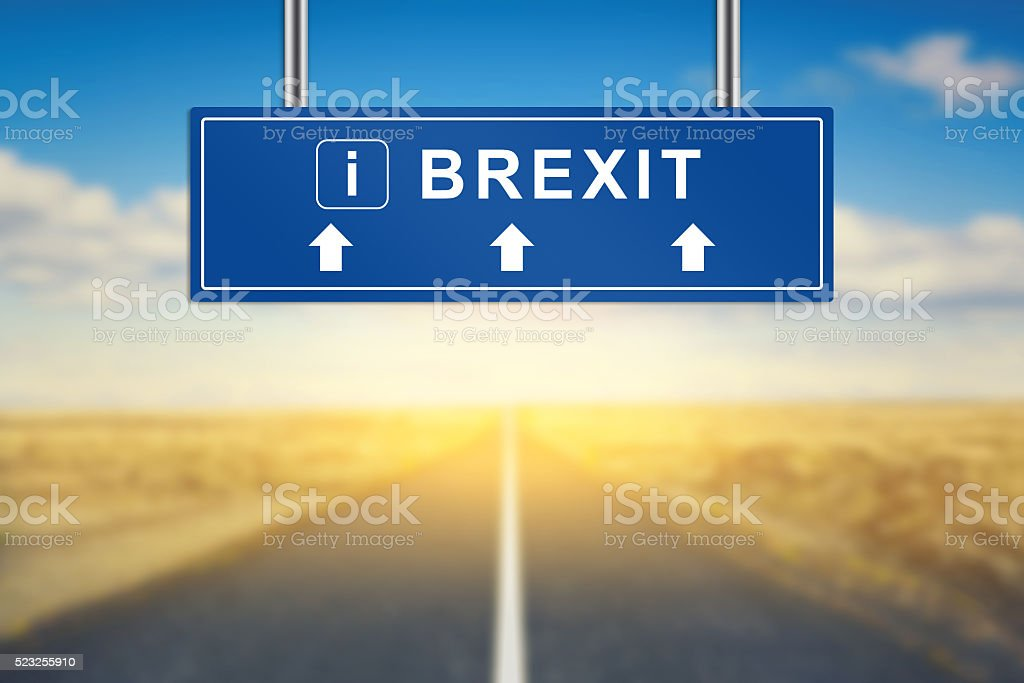 Brexit or British exit words on blue road sign stock photo
