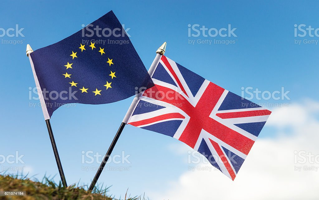 Brexit referendum aftermath: EU and UK flags stock photo