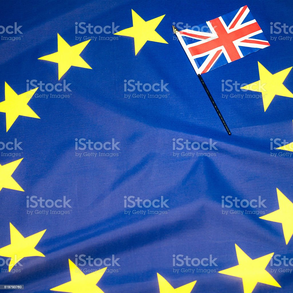 'Brexit' referendum: Union Flag covering a star on EU Flag stock photo
