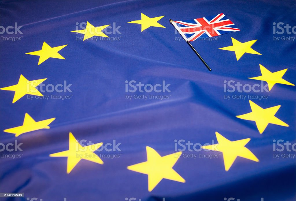 'Brexit' referendum: Union Flag covering star on European Union Flag stock photo