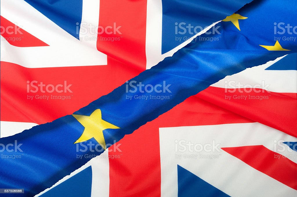 Brexit - Separated Flags of European Union and United Kingdom stock photo