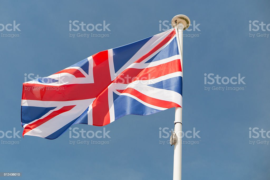 Brexit - Separated Silky Flags of European Union and Uk stock photo