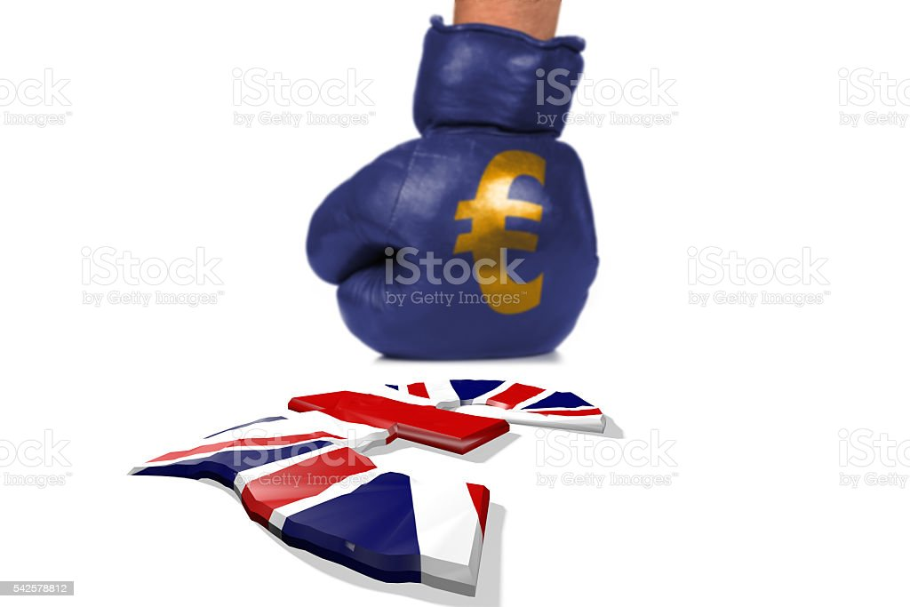 Brexit, Symbol of the Fight between the Currencies stock photo