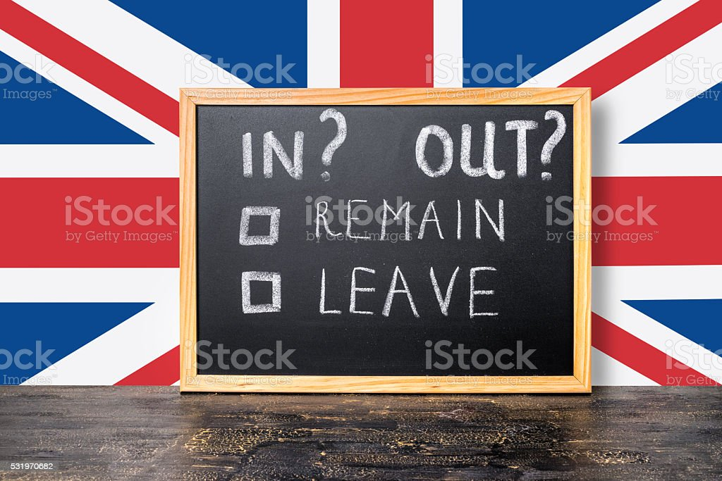 Brexit UK EU referendum concept with flag and handwriting text stock photo
